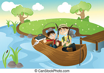 Father and son going fishing - A vector illustration of a...