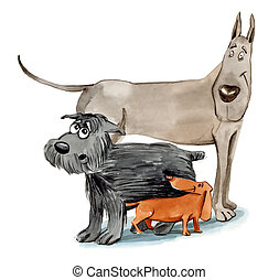 three different dogs - humorous illustration of three dogs...