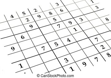 sudoku game - close up of an unfinished sudoku puzzle
