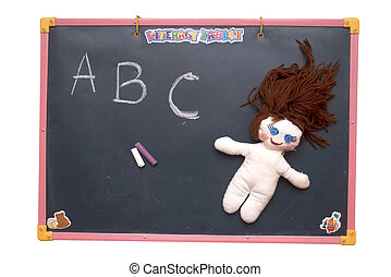 Soft toy - An image of school blackboard with a soft toy