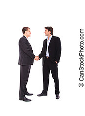 two business men portrait - two business men shaking hands,...