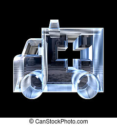 ambulance symbol in glass - 3d made