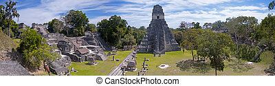 Tikal Panoramic - Panoramic image of the the Mayan ruins of...
