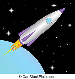 Rocket in space - The space rocket flies in a free space