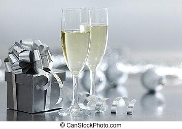 silver christmas card - silver christmas card macro close up...