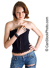 girl in a black corset and dark blue jeans