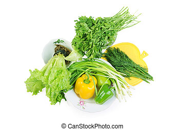 Group of vegetables isolated on a white background