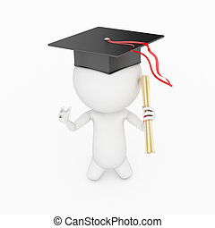 education - a 3d rendered illustration of a small guy who...