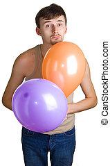 jeune, triste, hommes, Ballons