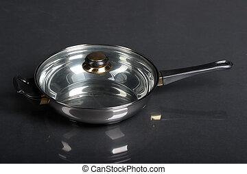 Metallic frying pan
