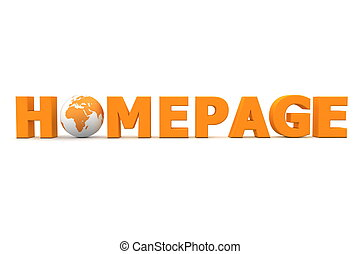 Homepage World Orange - orange word Homepage with 3D globe...