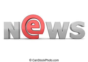 e-AT NEWS - Grey and Red - glossy grey word NEWS - letter e...