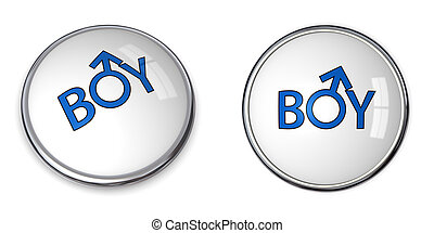 Button Word Boy/Male Gender Symbol