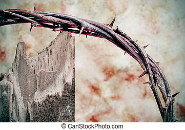 crown of thorns and cross - closeup of crown of thorns and...
