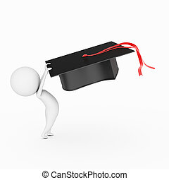 school is out - little 3d guy is waving his graduation hat