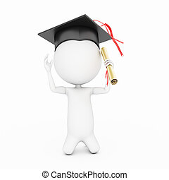 education - 3d rendered little guy with graduation hat