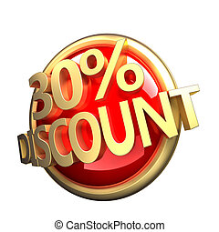 discount button - 3d rendered, shiny gold red discount...