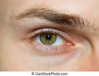 Eye of the young caucasian men. Macro, closeup