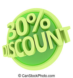 discount button - 3d rendered, green 30 percent discount...