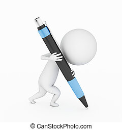 little guy writing - a 3d rendered little guy writing with a...