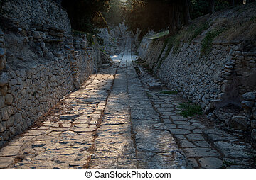 antique road made by minos civilisation in old Knosos...