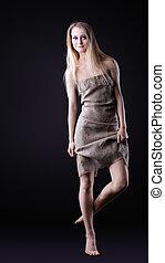 Beauty Girl walk in rag
