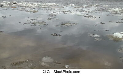 Ice floe floats in water