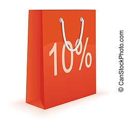 Shopping bag with percent discount