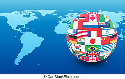 International communication concept World flags on globe