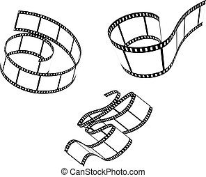 Films set - Set of film patterns isolated on white for...