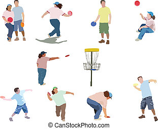 Disc Golf - Collection of people playing disc golf