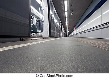 Deserted platform - Empty subway trainl waiting at a...