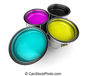 CMYK color paint buckets - Four paint buckets filled with...
