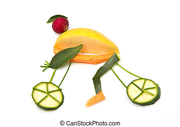 cyclist   design with fresh vegetables