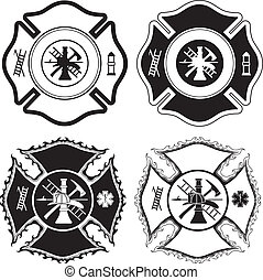 Firefighter Cross Symbols - Illustration of four version of...