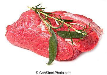 red meat - huge red meat chunk isolated over white...