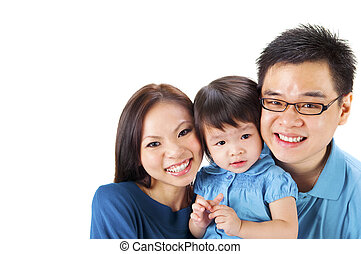 Asian family - Happy Asian family on white background