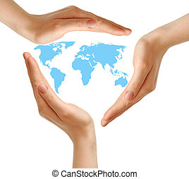 female hands surrounding the world map on white