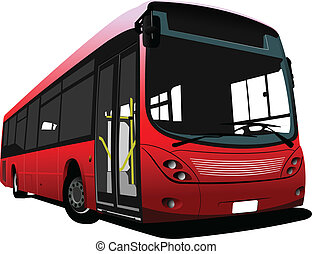 City bus on the road. Vector illus
