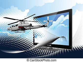 Air force. Combat helicopter on the dotted background and...