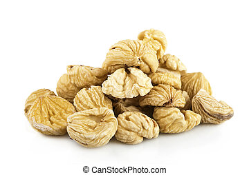 Dried chestnuts on white background