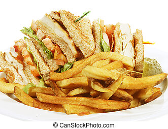 club sandwich - toasted chicken club sandwich with french...