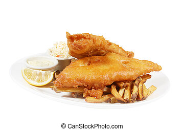 fish and chips - isolated plate of fish and chips with...