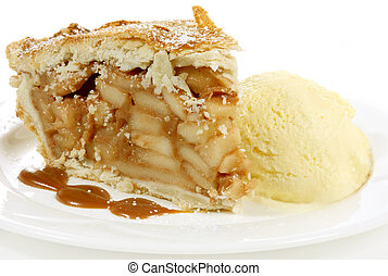 apple pie and icecream - huge apple pie and icecream with...