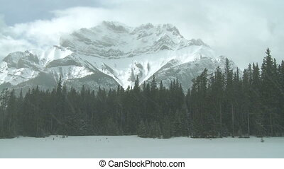 Winter mountain - Mount Cascade in Banff National Park,...