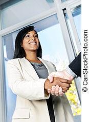 mulher, agitação, negócio, mãos