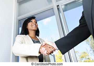 negócio, mulher, agitação, mãos