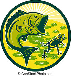 largemouth bass jumping frog - illustration of a largemouth...