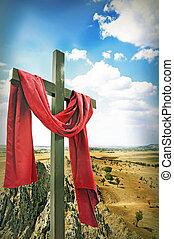 madeira, crucifixos, vermelho, pano