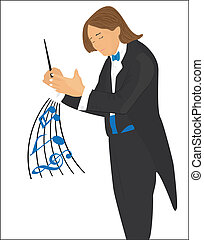 Conductor - The conductor instructs an orchestra a hand and...